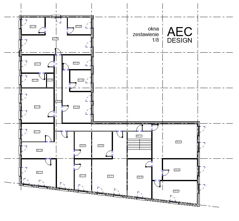 Model w Revit zawiera zaprojektowany podział na docelowe pomieszczenia, w ścianach zewnętrznych okna