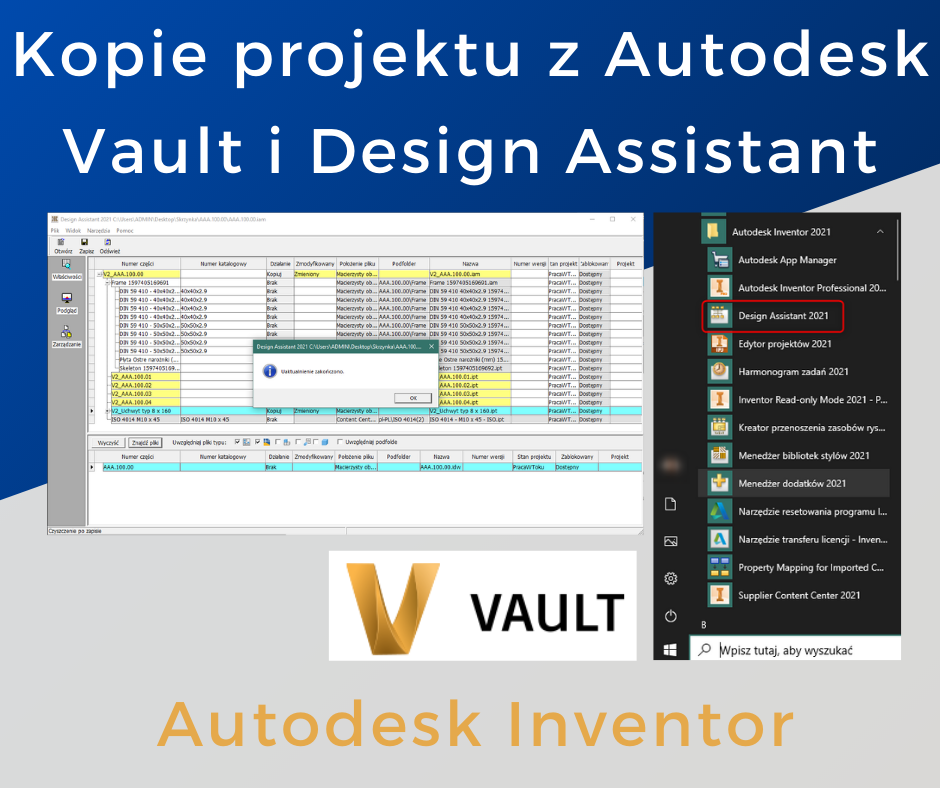 kopie projektu z autodesk vault i design assistant